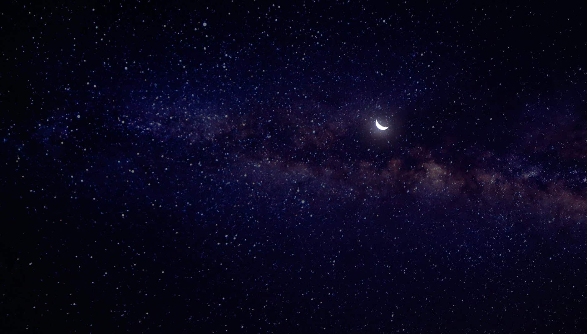 simple image of the moon and galaxy