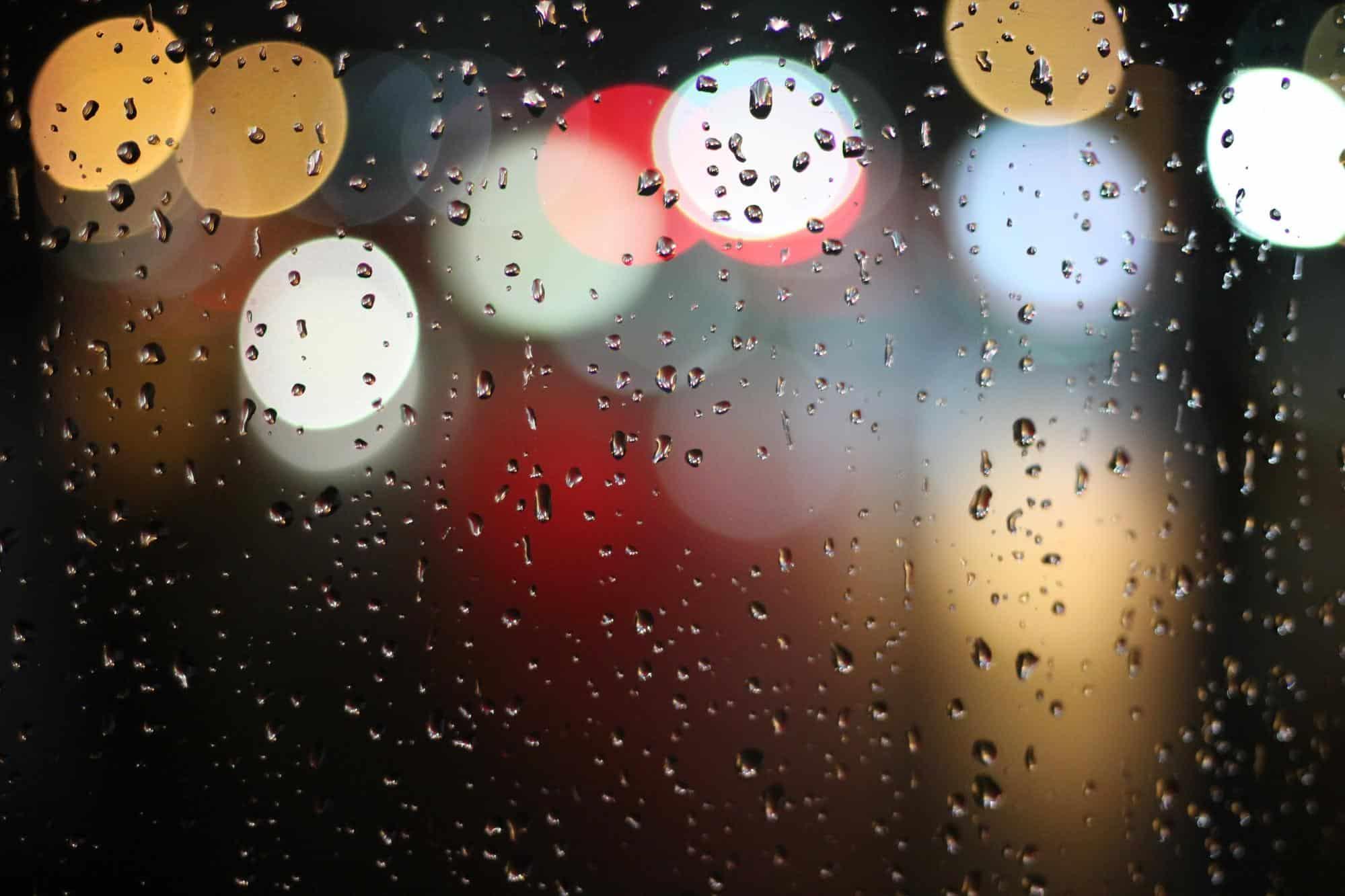 raining on a glass window