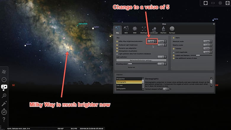 change to 5 for brighter milkyway