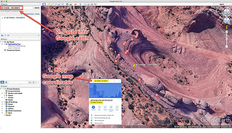 google earth pic if utah delicate arch