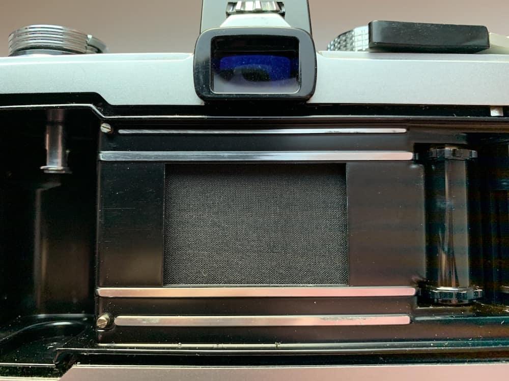 shutter curtain on a Olympus OM-1 camera