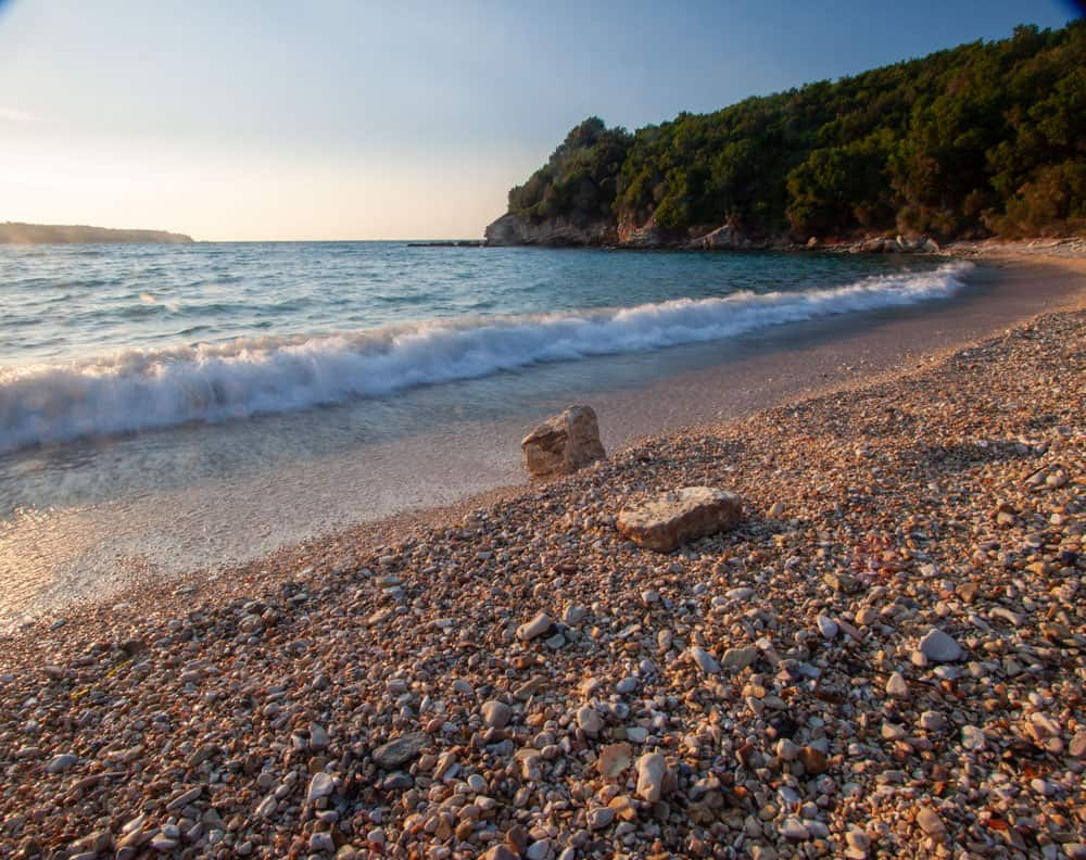 location in Kerkyra capturing the waves on the beach with the right shutter speed