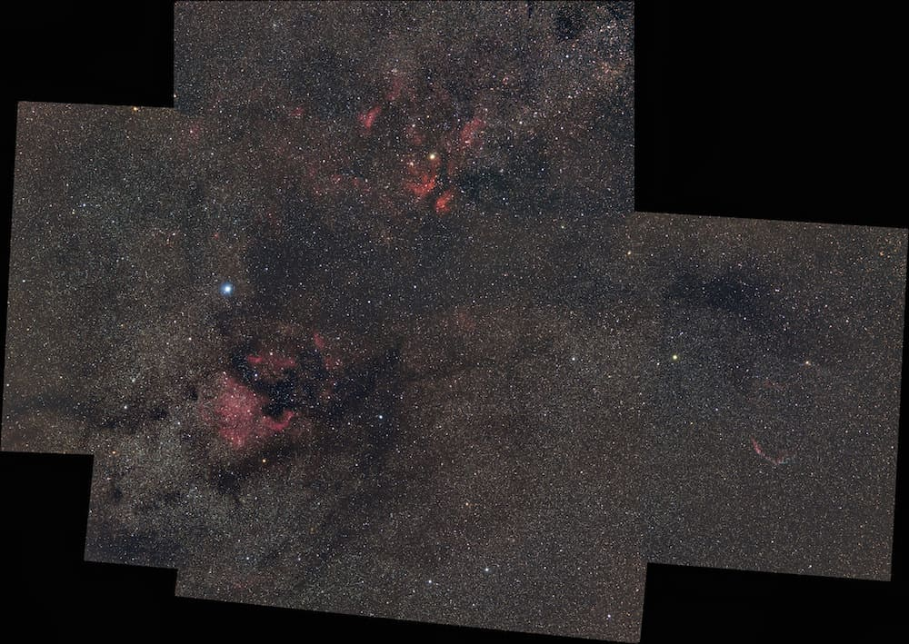 5 panels mosaic of part of the Cygnus Constellation