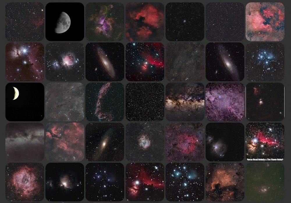 Sample images of astrophotography with the SkyGuiderPro